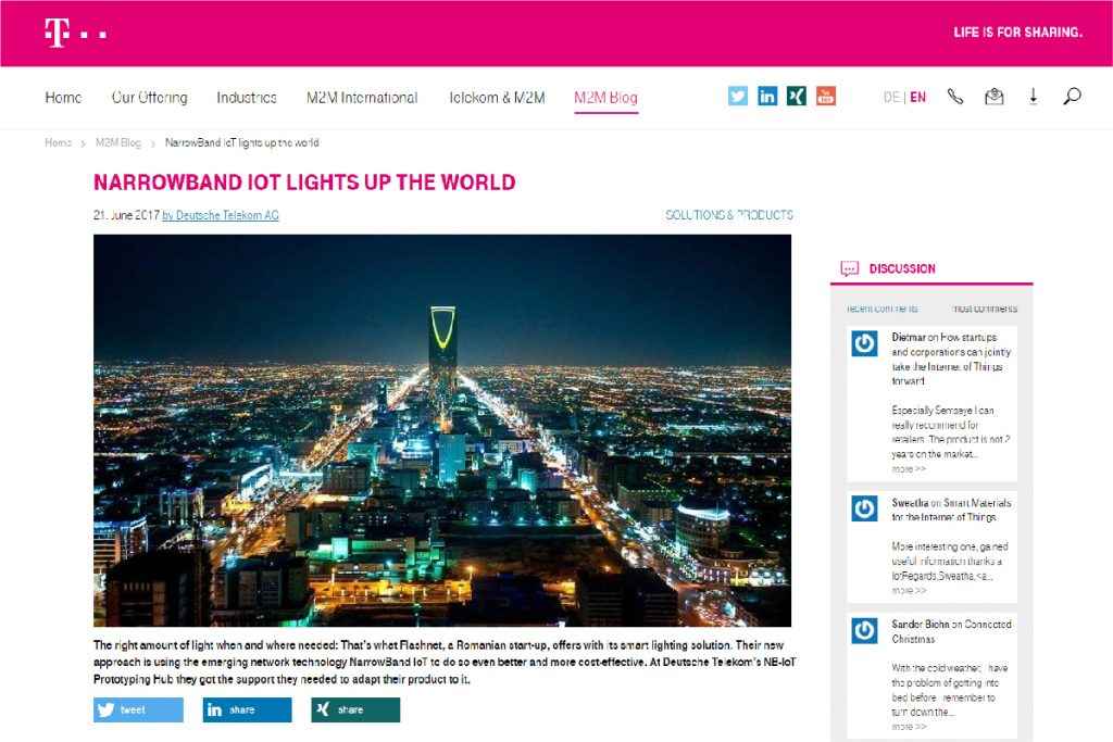 inteliLIGHT®, world's first NB-IoT compatible smart street lighting solution, one of the success stories at Telekom's NB-IoT Prototyping Hub: hub:raum