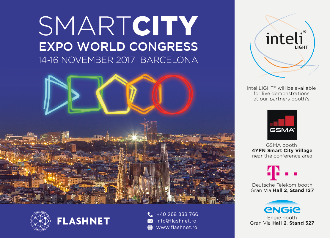 inteliLIGHT® streetlight control, featured by Flashnet global partners during Barcelona Smart City Expo World Congress in November.